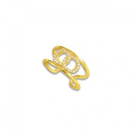 Bague plaqué or double anneaux oxydes