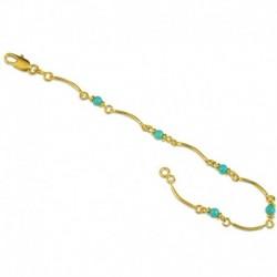 Bracelet plaqué or boules turquoises