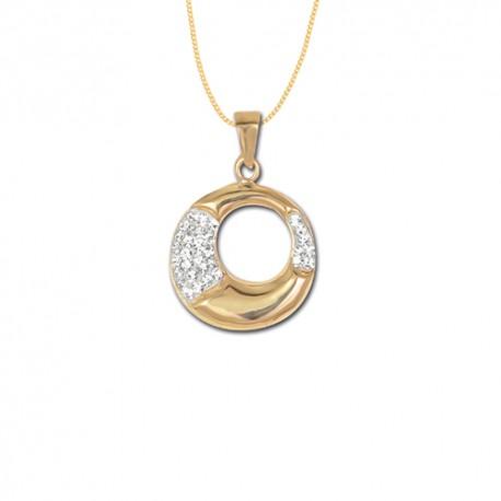 Pendentif or 9 carats cristal