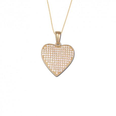 Pendentif or 9 carats coeur oxydes