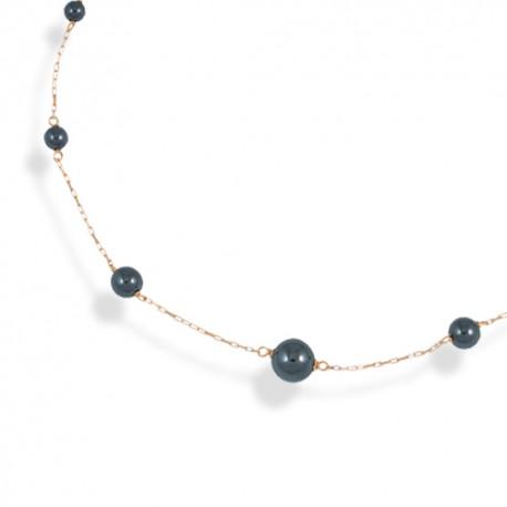Collier or 18 carats perles hématites