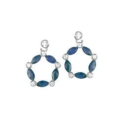 Boucles d'oreilles or 9 carats saphirs fins et oxydes