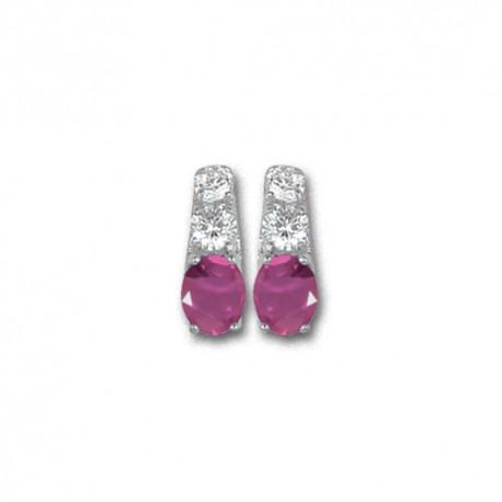 Boucles d'oreilles or 9 carats rubis fins et oxydes