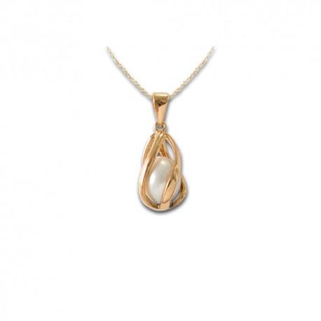 Pendentif plaqué or perle de synthèse