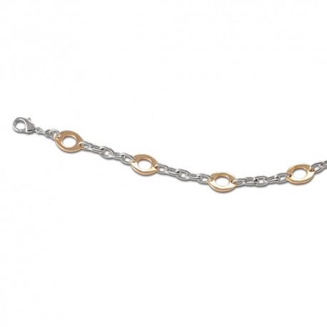 Bracelet plaqué or bicolore