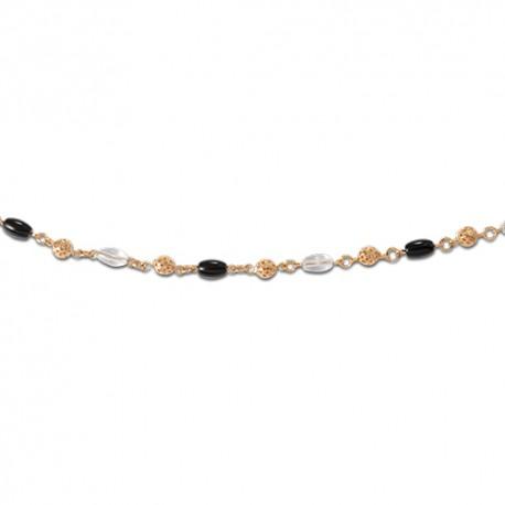 Bracelet plaqué or onyx et cristal