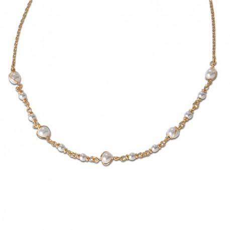 Collier plaqué or perles de synthèse