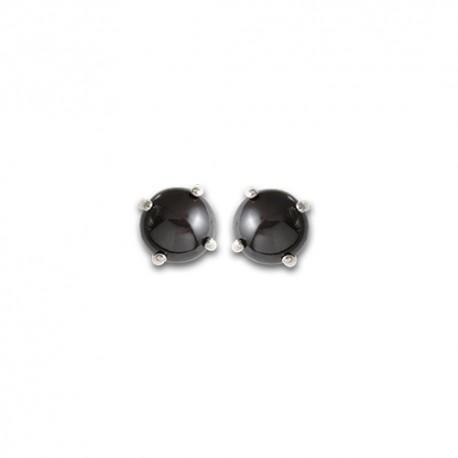 Boucles d'oreilles argent onyx