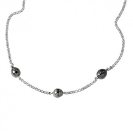 Collier argent perles de Tahiti