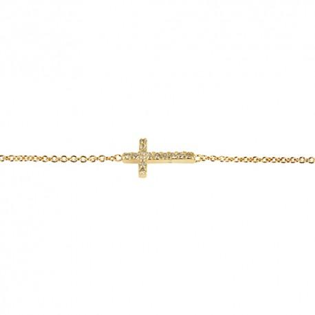 Bracelet plaqué or croix oxydes