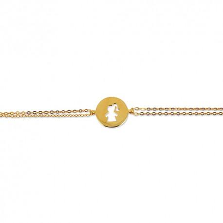 Bracelet plaqué or jeton fille