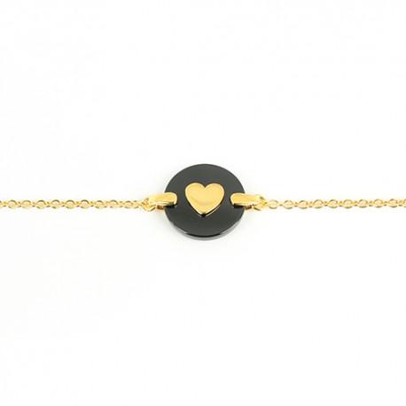 Bracelet plaqué or médaille onyx