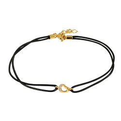 Bracelet plaqué or oxydes cordon noir