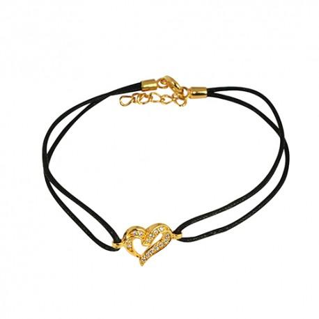 Bracelet plaqué or coeur oxydes cordon noir