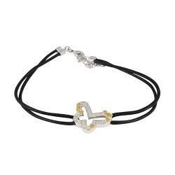 Bracelet plaqué or papillon bicolore oxydes cordon noir