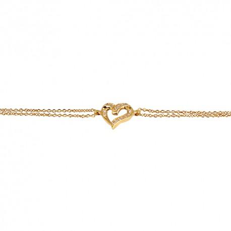 Bracelet plaqué or coeur oxydes