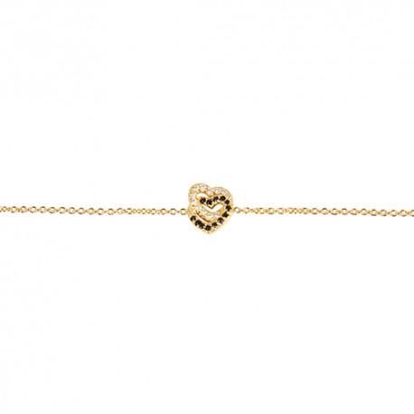 Bracelet plaqué or coeurs oxydes