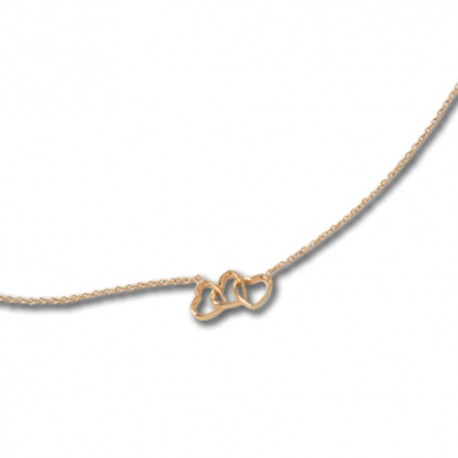 Collier plaqué or coeurs
