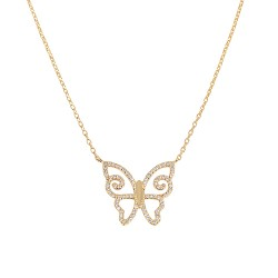 Collier plaqué or papillon oxydes