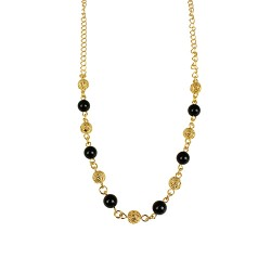 Collier plaqué or onyx