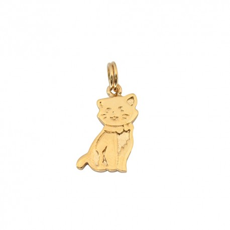 Pendentif plaqué or chat