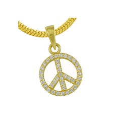 Pendentif plaqué or peace and love oxydes