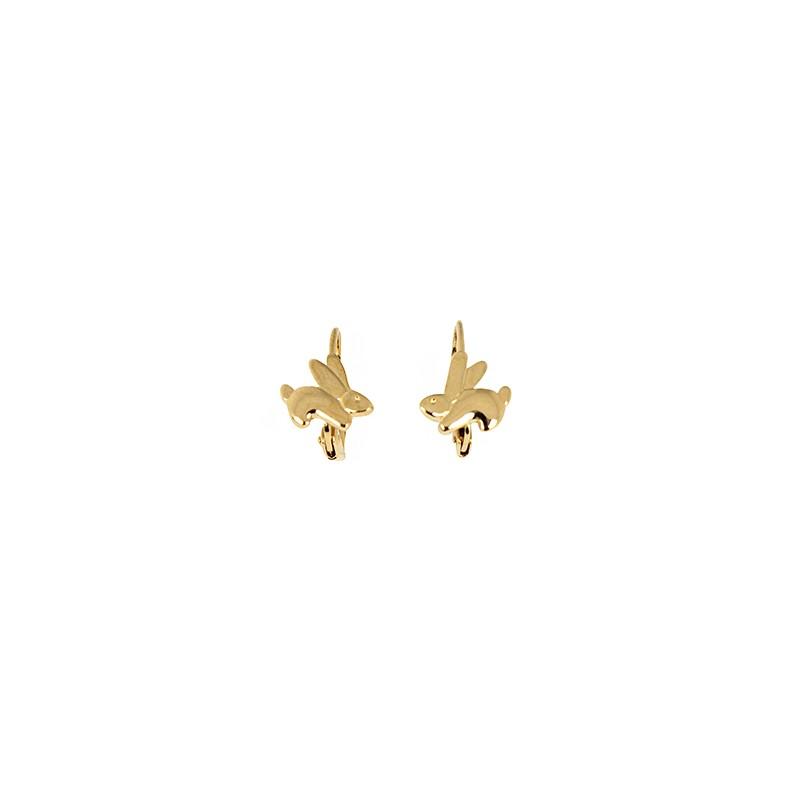 boucles d 39 oreilles plaqu or enfant dormeuse lapin laura bijoux. Black Bedroom Furniture Sets. Home Design Ideas