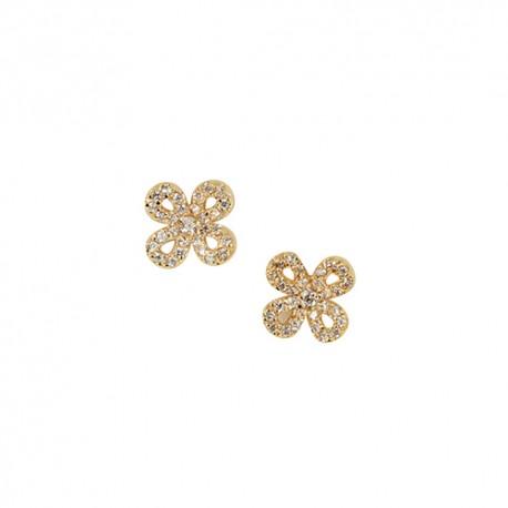 Boucles d'oreilles plaqué or fleur oxydes