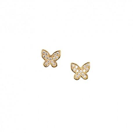 Boucles d'oreilles plaqué or papillons oxydes