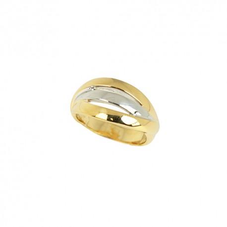 Bague plaqué or bicolore