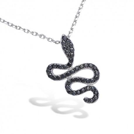 Pendentif argent serpent oxydes noirs