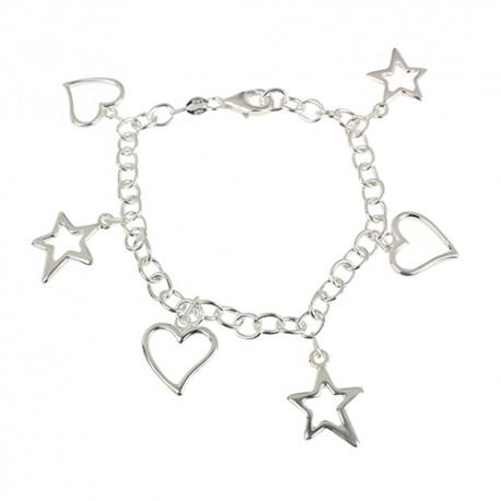 Bracelet argent pampilles coeurs et étoiles
