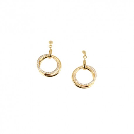Boucles d'oreilles plaqué or pendantes double cercle oxydes