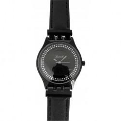 Montre extra plate quartz verre minéral bracelet cuir véritable noir boîtier acier Ø 31mm