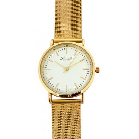 Montre quartz verre minéral bracelet milanais fermoir glissière boîtier acier doré Ø 35mm