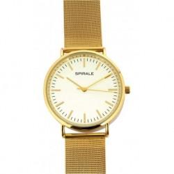 Montre quartz verre minéral bracelet milanais doré fermoir glissière boîtier acier Ø 40mm